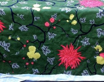 Vintage fabric tropical vat colors mid century