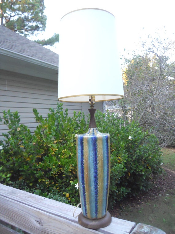 Table Lamp Mid Century Drip Glazed Ceramic  Blue Turquoise Green RESERVED FOR ASHLEY