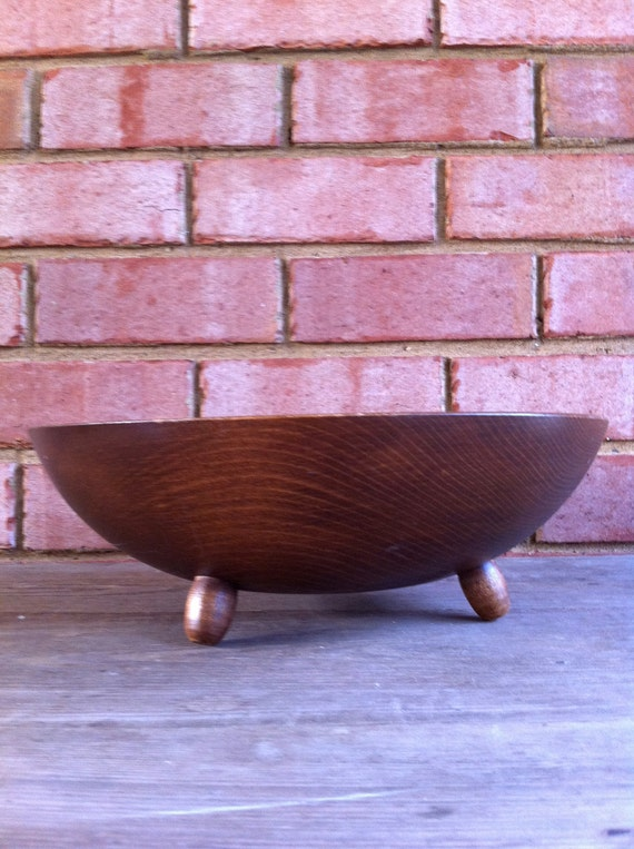 Wooden Serving Bowl Vintage Made in America Woodcroftery