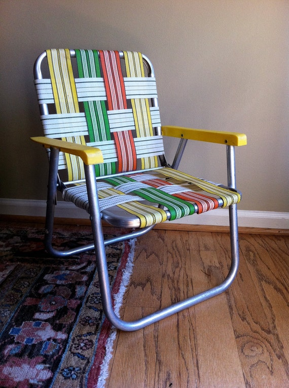 Vintage Childs Lawn Chair Aluminum Orange Yellow Green On Sale
