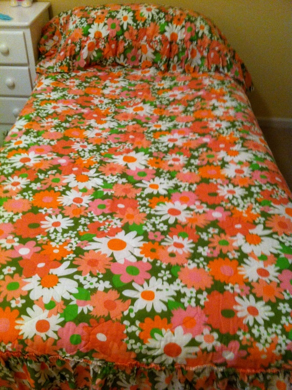 Flower Power Full Bedspread RESERVED for Rosamund