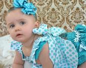 Childrens Spring Twirl Sundress & Ruffled Panties Newborn -  18 mos Aqua ta dots 2 piece