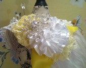 Childrens Spring Headband White yellowFeather and Flower Lace  Hair Accessories