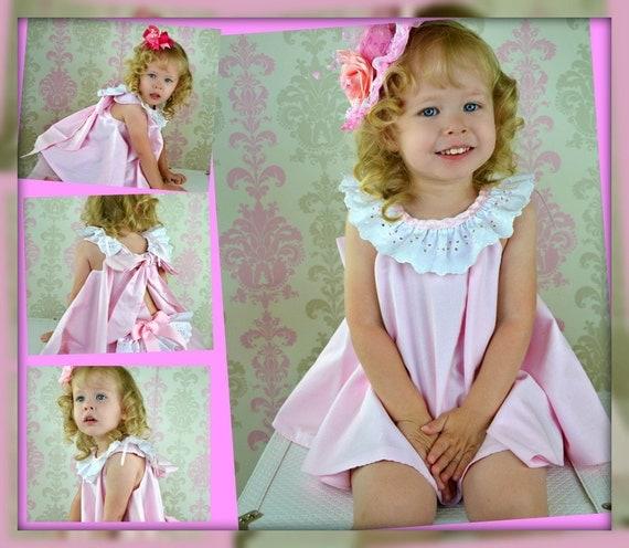Girls Baby Toddlers Custom Sundress & Ruffled Panties Ballet Pink and white 2 piece sizes 0-3 mos,3-6 mo, 6-9mo , 9-12 mo,18 mo