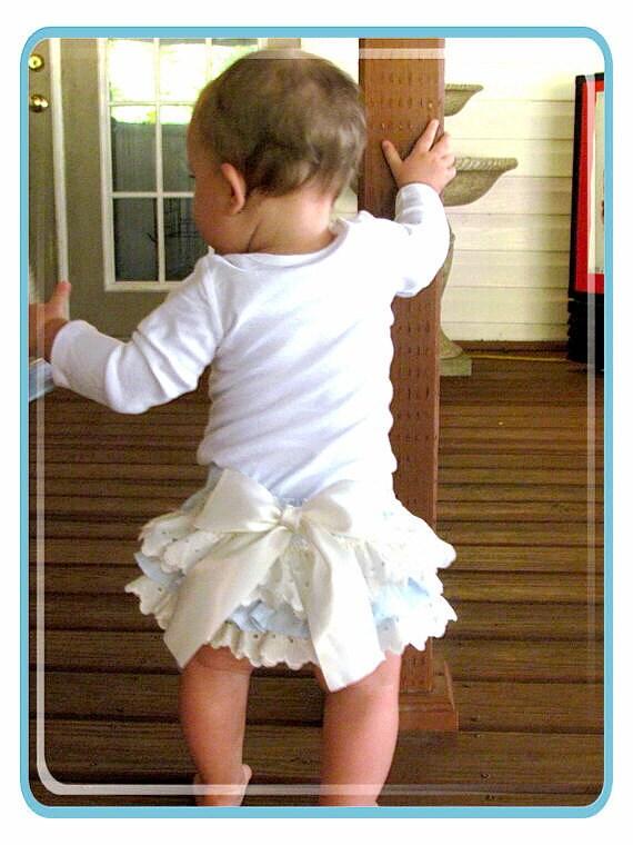 Blue Ruffled bloomers- Diaper cover-photo prop- Girls babiesToddlers- Newborn 24 mo