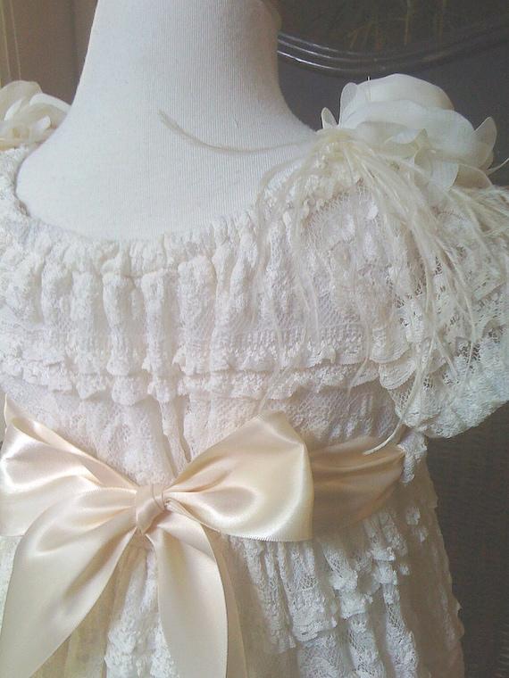 Flower Girls Ivory Lace Dress 5-6