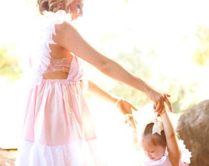 Girls Spring Twirl dress & Ruffled Bloomers Ballet Pink and white 2 piece Newborn thru18 mo