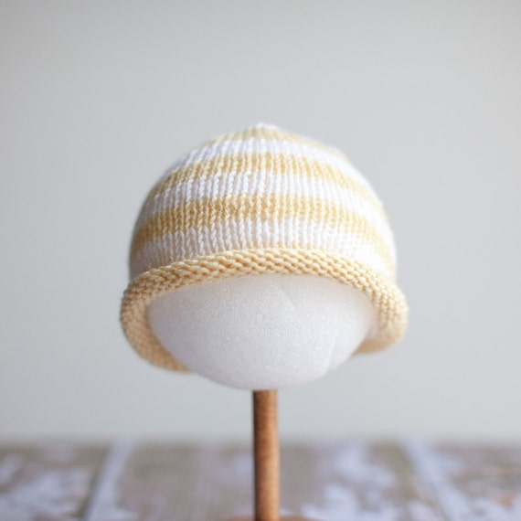 Luscious Spring Bold Stripe, Roll Brim Knit Hat - Soft Yellow