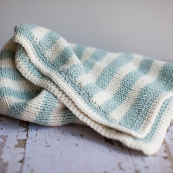 OOAK Hand Knit, Bold Stripe, Seafoam and Off White Baby Blanket
