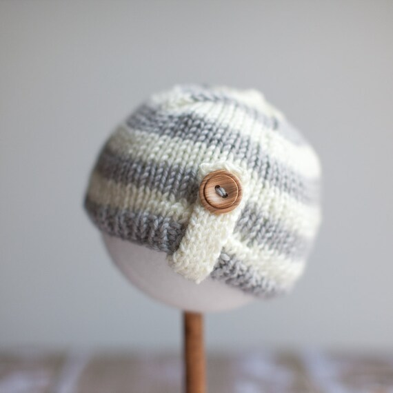 Four Hats in One - Pale Gray and Off White Stripe With Flower and Button