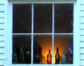 Antique Bottles in a Window, Franklin County, KY, 8 x 10 fine art photo, signed.