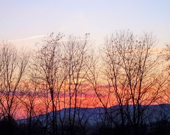 Mountain Sunset in November, Lewisburg, WV--8 x 10 fine art photo, signed