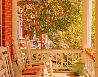 Front Porch with Rockers, Historic Church Hill District, Richmond, Virginia--8 x 10 fine art photo, signed