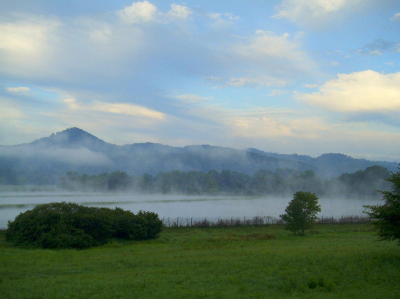Morning fog over fish hatchery near cave run lake by patsysjoy for Fish hatchery ky
