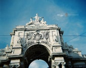 blue sky in lisbon 8x8 print white architecture travel photography lomography print square