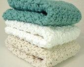 RESERVED LISTING for zavala - Set of 3 - 100% Cotton Washcloths / Dishcloths - Soft and Luxurious - White