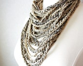 The LADY IS TOUGH Soft Chain Infinity Scarf - muted gray, khaki, taupe, metallic - One scarf, many looks.