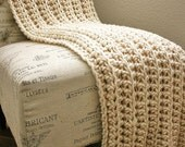 Sale WEST BAY THROW in Cream - Soft, warm & cozy throw - Perfect gift for wedding, housewarming, anniversary and holidays or for your home