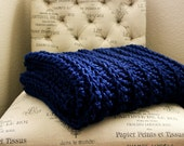 WEST BAY THROW in Navy - Soft, warm & cozy throw - Wedding, housewarming, anniversary and holidays or for your home