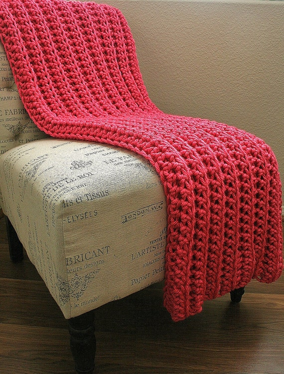 reserved for ---- Jennifer Church ----- READY TO SHIP - West Bay Throw in Hot Pink - Soft, warm & cozy throw