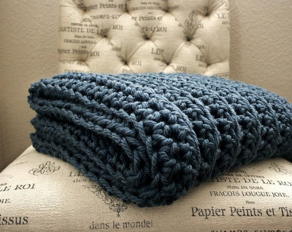 Sale WEST BAY THROW in Blue - Soft, warm & cozy throw - Wedding, housewarming, anniversary and holidays or for your home
