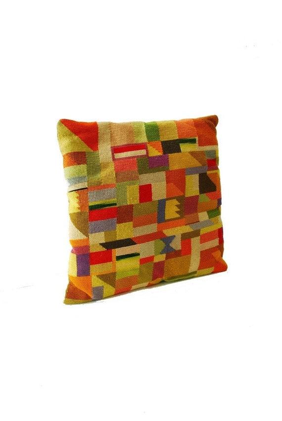 Needlepoint Bargello Geometric Pillow