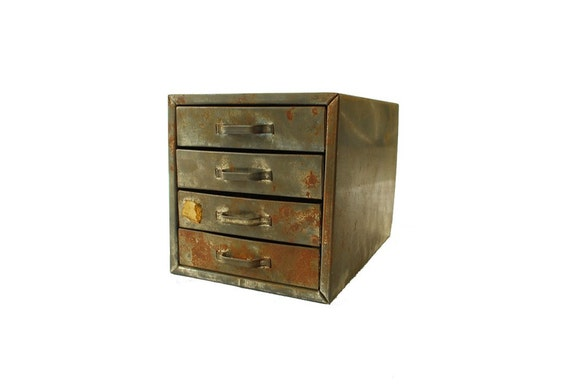 RESERVED Industrial Metal Parts Chest Cabinet w/ Drawers