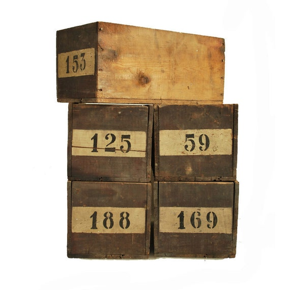 Vintage Wooden Boxes Hardware Store Box Industrial Storage