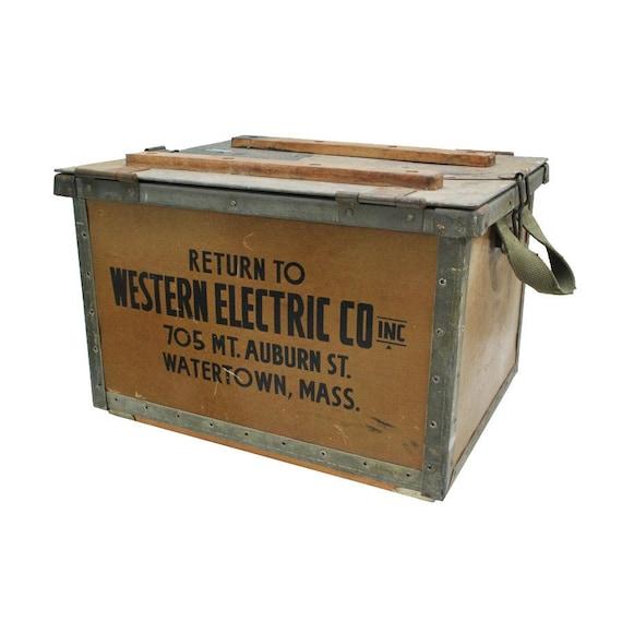 Antique Electrical Toolbox / Vintage Storage Box / Industrial Crate
