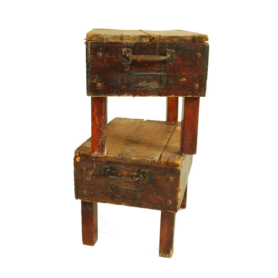 Wooden step stool industrial repurposed printers