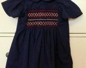 Girls Vintage Smocked Dress