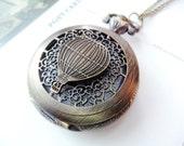 Hot Air Balloon Steampunk Pocket Watch Necklace(medium size)