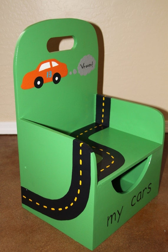 Storewide Shipping SALE Toy car chair with race track and compartment for cars