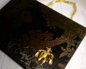 SALE - Brown Asian Silk Brocade with vintage brooch / pin Fully Lined