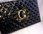 Quilted Patterened Black Vinyl Clutch with Leopard Interior  MEOW