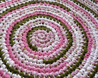 Rag Rug Crocheted Upcycled Pink Rose 41 inch