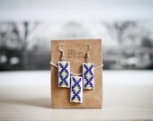 FREE SHIPPING,native American inspired handmade beaded leather necklace and earrings,geometric,art deco,neon,blue,lime,smoky cream,