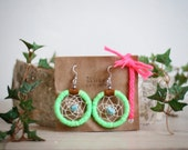 FREE SHIPPING,Native American inspired handmade neon green dreamcatcher earrings-neoncolor,turquoise,upcycled,recycled,leather,southwestern,
