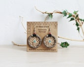 FREE SHIPPING,Native American inspired upcycled T-shirts yarn handmade dreamcatcher earrings-sandstone,earthy,