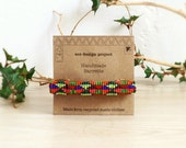 Free shipping,Native american inspired handmade beaded suede barrette,geometry,tribal,colorful,neon,green,pink,orange,green