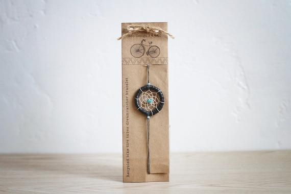 Free shipping, Handmade upcycled,recycled bike tire tube dreamcatcher bracelet