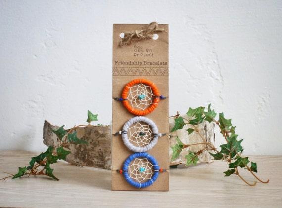 FREE SHIPPING,Eco-friendly Native American inspired dreamcatcher friendship bracelets-Blue,orange,gray,