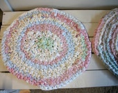 Reserved for Susan - Braided Rug - Rag Rug Shabby Chic Pink, Blue, and Mint Colored