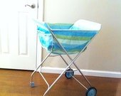 Reserved for Patty - SALE - Vintage Fold Up Laundry Cart in Pastel Colors