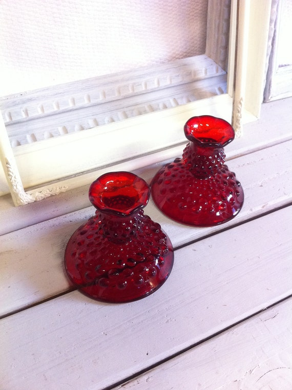 Vintage Fenton Ruby Red Hobnail Candle Stick Holder