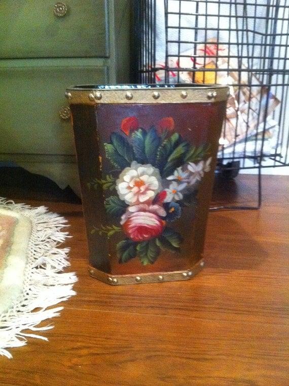 Vintage Beautiful Floral Tole Wastebasket - Home Decor - Waste Basket - Trash Can - Shabby Chic Roses