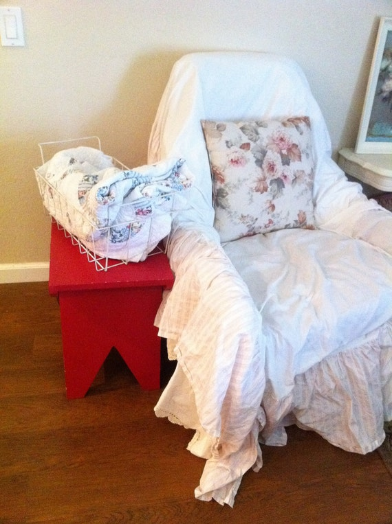 On Hold - Vintage Red Wooden Stool Bench - Shabby Chic - Cottage Chic - Paris Apt. - French Market - Farmhouse Chic