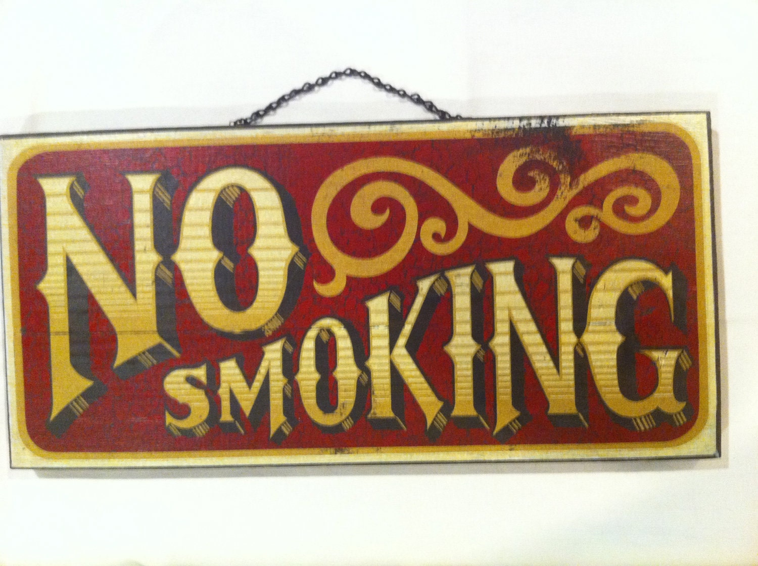 RESERVED Vintage NO SMOKING Wooden Sign