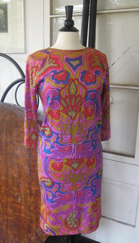 Vintage 1960s Psychedelic Goldworm Designer Wiggle Skirt Set Sz Med