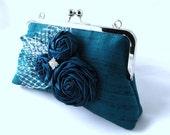 Blue silk clutch with satin rosettes, leaf, and rhinestone, Teal blue wedding bridal purse